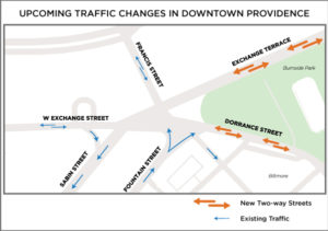 Map of New Traffic Patterns for Downtown Providence Streets