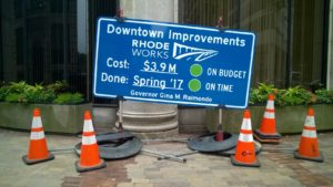 RIDOT rhode works sidewalk sign