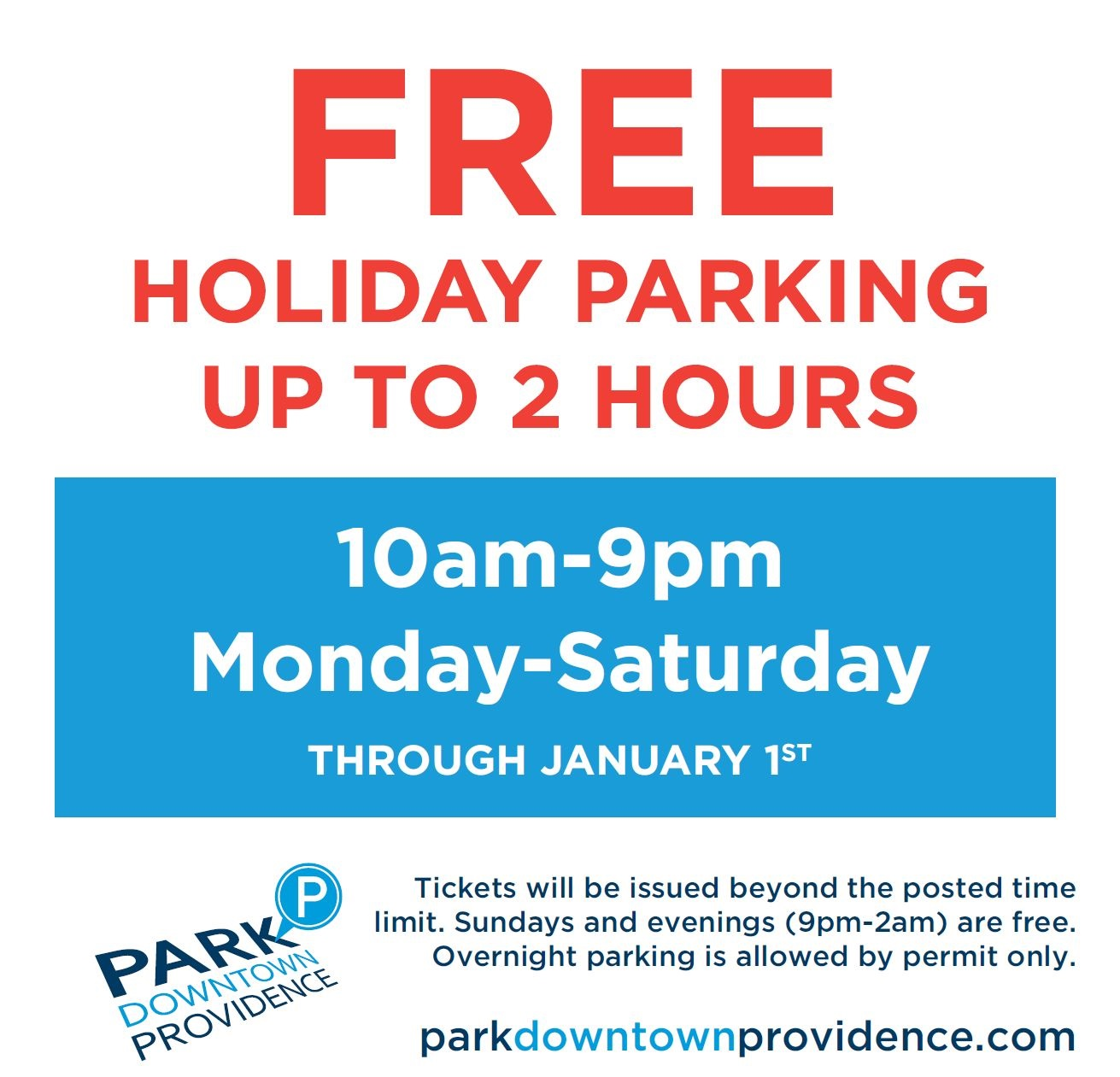 free 2 hour holiday parking downtown providence